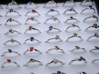 30Pcs Wholesale Jewelry Bulk Mixed Silver Plated Multicolor Crystal Finger Rings