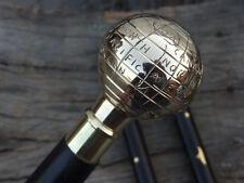 Antique Brass Globe Handle Wooden Vintage Style Walking Stick Cane Designer