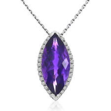 """14k White Gold Marquis Amethyst and Diamond Pendant with 18"""" Chain"""