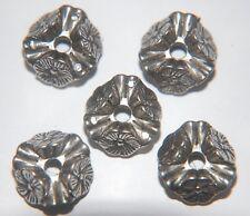 BIG Perline ~ 6 X Perline Grandi Floreale Stinco ~ CCB ANTICATO SILVER PLATE ~ 18 mm