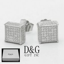 6mm Studs Square*Earring Unisex.Box Dg Men's Sterling Silver 925,Cz