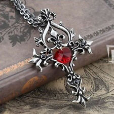 Hot Sale Vintage Cross Red Heart Crystal Pendant Necklace Chain Gift Design