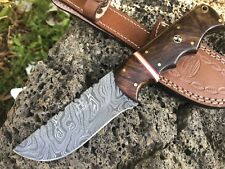 "HUNTEX Handmade Damascus 9"" Long Walnut Wood Bush Craft Hunting Skinning Knife"