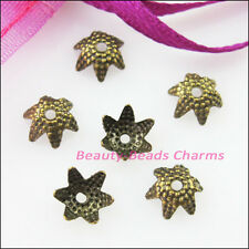 150Pcs Tip Flower End Bead Caps Connectors 6mm Gold Silver Bronze Plated