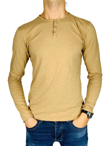 Pull Homme 100% Coton Encolure Ronde Manches Longues Boutons T-Shirt Occasionnel