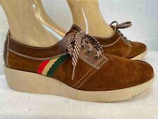 Nos Vtg 1970s Oxford Shoe Platform Heel Brown Suede Size 9.5 Stripe Mystiques