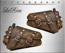 LaRosa Rustic Brown Leather Harley Sportster Left Right Saddlebags + Gas Bottles