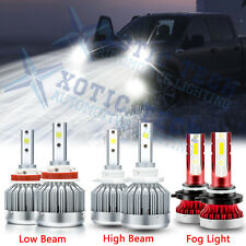 For Ford F-150 2015-2019 LED Front Headlight High Low Beam+Fog Light Bulbs Combo