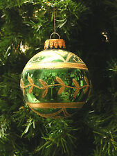 MERCURY STYLE GREEN GLASS BALL w/ GOLD GLITTER DESIGNS CHRISTMAS TREE ORNAMENT