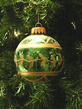MERCURY STYLE GREEN GLASS BALL w/ GOLD GLITTER DESIGNS CHRISTMAS TREE ORNAMENT