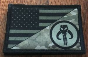 Subdued Boba Fett Mandalorian USA Flag  Morale Patch Tactical Military Army