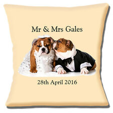 """NEW ENGLISH BULLDOGS ADULTS WEDDING ADD NAMES & DATE 16"""" Pillow Cushion Cover"""