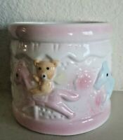 Vintage Carousel Vase Planter Baby Nursery Decor Pink Blue Horses Teddy Bears