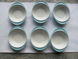 Six Vintage Gaydon Melmex Melamine retro blue with white inner bowls 7.25 inches