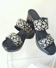 Tommy Hilfiger Women's Black White Strap Slip on Wedge 2 3/4 Sandals Size 6.5M