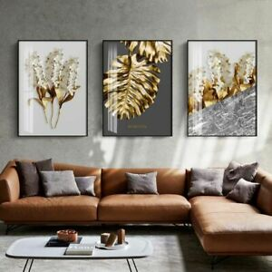 Modern Canvas Painting Posters Prints Abstract Leaf Wall Living Room Home Decor