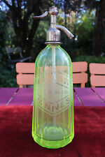 FRENCH URANIUM GLASS SYPHON WATER BOTTLE 1939 GREEN