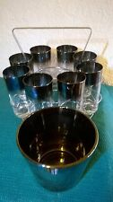 Vintage Metallic Ombre Silver Fade Ice Bucket and Matching Highball Glasses