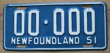Newfoundland 1951 SAMPLE License Plate HIGH QUALITY # 00-000