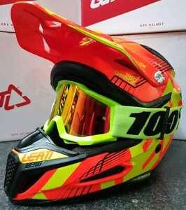 New Youth Kids M 51-52cm Leatt GPX 5.5 ORANGE YELLOW Helmet 100% Accuri Goggles