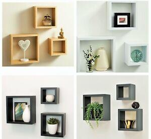 Cali Wall Floating Cube Box Shelf/Shelves Set of 3 Walls Storage Shelving Unit