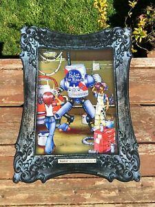 PABST BLUE RIBBON BEER PBR ART Kegatron Robot Metal Tin Tacker Sign Bar Tavern