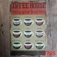 Metal Tin Sign coffee house  Bar Pub Vintage Retro Poster Cafe ART