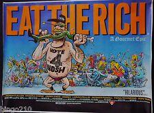 EAT THE RICH  ORIG 1987 QUAD POSTER COMIC STRIP LEMMY MOTORHEAD FIONA RICHMOND