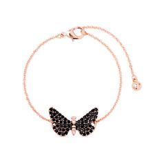 Butterfly Black Onyx Rose Gold Filled Women Jewelry Charm Bracelet Gemstone MS2