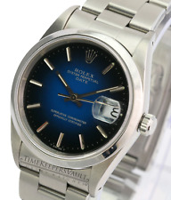 Rolex Oyster Perpetual Date Stainless Steel 15200 Blue Vignette Dial 34mm Watch