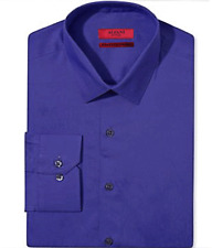 Alfani Fitted Easy Care Stretch Cotton Blend Dress Shirt Purple