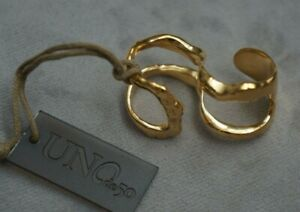 NWT UNO de 50 Stamped Gold SWAGGY 2 Finger Statement Ring 6.5 7 7.5 8 S M L