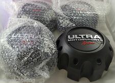 Ultra Wheels XTREME Flat Black Custom Wheel Center Caps Set of 4 # 89-9780SBX