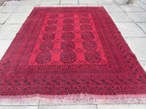 Vintage Hand Made Traditional Afghan Oriental Wool Red Large Carpet 270x205