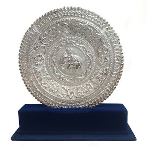 Handmade Sri Lankan Historical Vintage Silver Plated Carving Tray with Stand Box