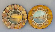 2 piatti parete conchiglie incollati vintage kitch mare francese antico piani