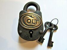Antq Style Rustic Cast Iron Small Colt Gun Gate Cabinet Lock Padlock w/ Keys
