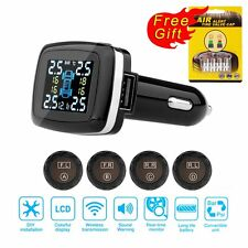 Car Cigarette Lighter TPMS USB Tyre Pressure Monitor System With 4 Sensors