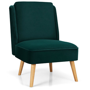Velvet Accent Chair with Rubber Wood Legs for Living Room