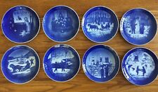 Lot 8 Royal Copenhagen Blue Christmas Plates 1982 - 1989 Denmark Lovely