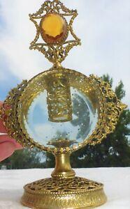 LARGE Vintage Figural Vanity Perfume Bottle Filigree Ormolu Gold w/ Glass Insert