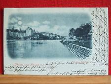 Mondscheinkarte - Gruss aus Straubing - Donau-Brücke - gel 1899   m1