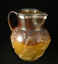 "Vintage English Salt Glazed Stoneware Hunt Jug w/ Silver Rim.  6 ¼ "" tall."