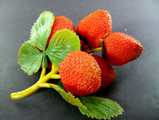 BUNCH CLASTER OF VINTAGE ARTIFICIAL STRAWBERRIES (A24)