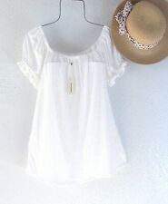 New~$68~White Peasant Blouse Babydoll Shirt Textured Boho Top~Size Large L