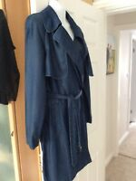 Zara Blue Denim Look Trench Coat Size M New With Tags