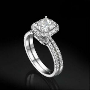 DIAMOND RING HALO 14K WHITE GOLD NATURAL ACCENTED WOMEN SI1 ANNIVERSARY 2.75 CT