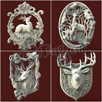 4 3D STL Models Hunting Deer pack for CNC Router Carving Machine  Artcam aspire