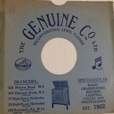 "78rpm 10"" card gramophone record sleeve / cover LEWIS TURNER the genuine Co"