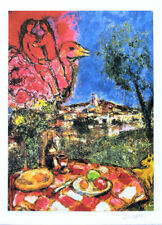 MARC CHAGALL Lovers Over The City Litho Print Facsimile Signed & COA